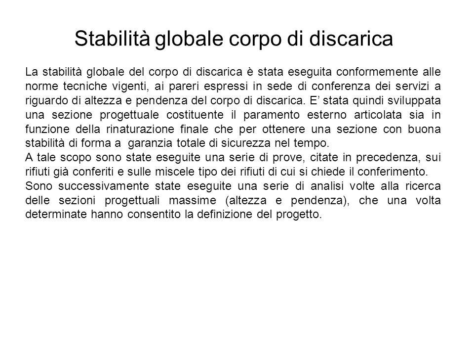 Stabilità globale corpo di discarica La stabilità globale del corpo di discarica è stata eseguita conformemente alle norme tecniche vigenti, ai pareri