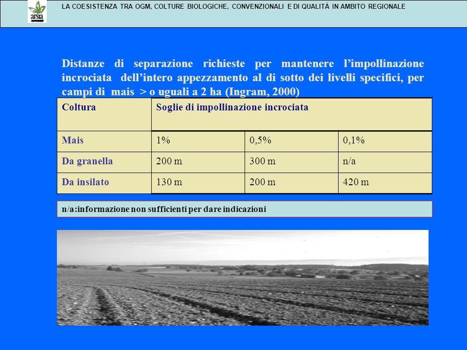 LA COESISTENZA TRA OGM, COLTURE BIOLOGICHE, CONVENZIONALI E DI QUALITÀ IN AMBITO REGIONALE ColturaSoglie di impollinazione incrociata Mais1%0,5%0,1% D