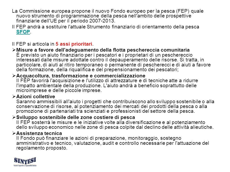 Quadro finanziario In base alla proposta, il FEP avrà una dotazione di 4 963 milioni di euro per il periodo di programmazione 2007-2013.