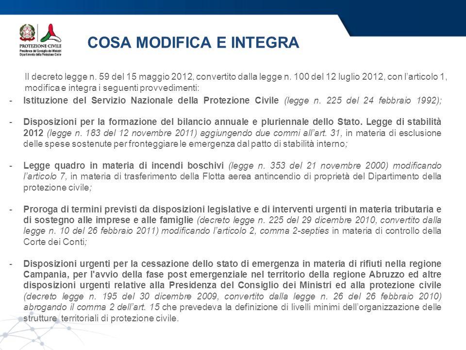 COSA MODIFICA E INTEGRA Il decreto legge n. 59 del 15 maggio 2012, convertito dalla legge n. 100 del 12 luglio 2012, con larticolo 1, modifica e integ