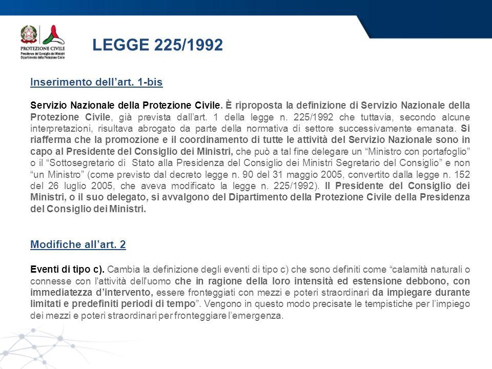 LEGGE 225/1992 Inserimento dellart. 1-bis Servizio Nazionale della Protezione Civile. È riproposta la definizione di Servizio Nazionale della Protezio