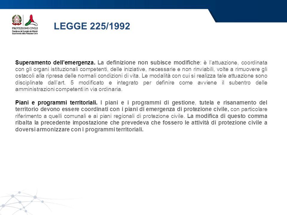 LEGGE 225/1992 Superamento dellemergenza. La definizione non subisce modifiche: è lattuazione, coordinata con gli organi istituzionali competenti, del