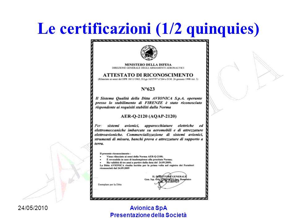 24/05/2010Avionica SpA Presentazione della Società Le certificazioni (1/2 quinquies)