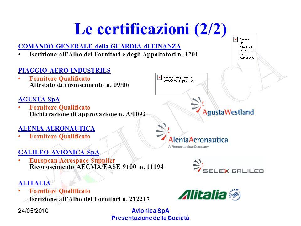 24/05/2010Avionica SpA Presentazione della Società Le certificazioni (2/2) COMANDO GENERALE della GUARDIA di FINANZA Iscrizione allAlbo dei Fornitori