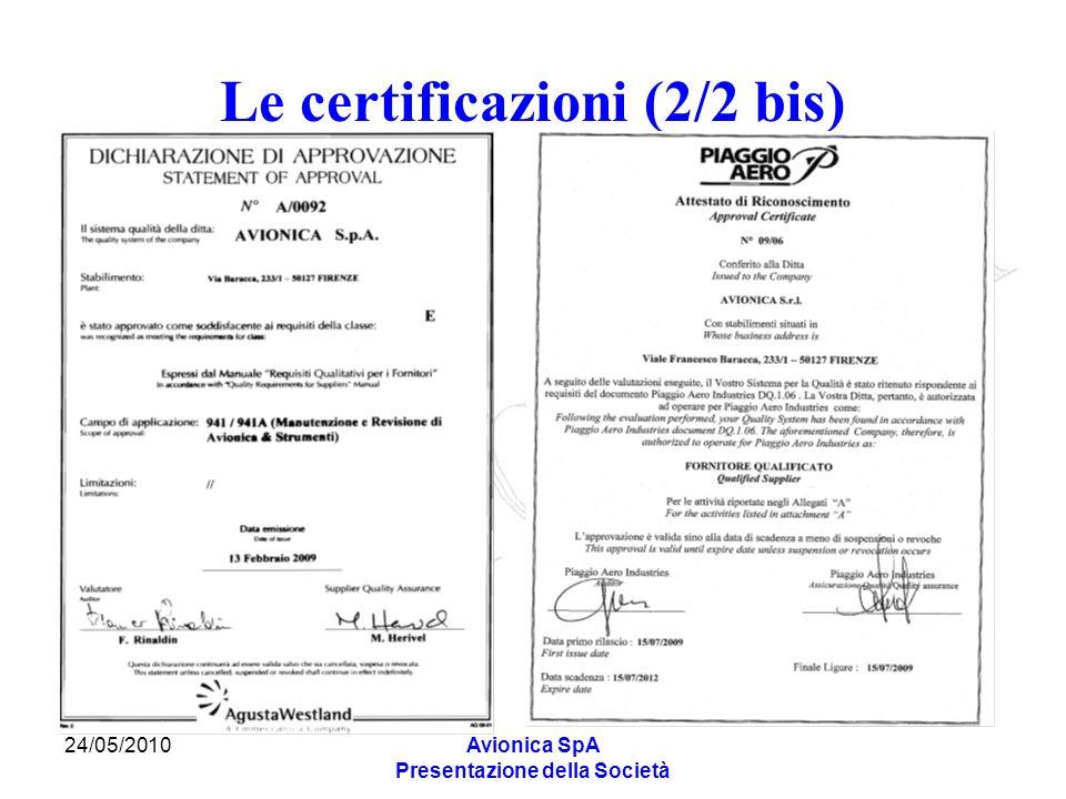 24/05/2010Avionica SpA Presentazione della Società Le certificazioni (2/2 bis)