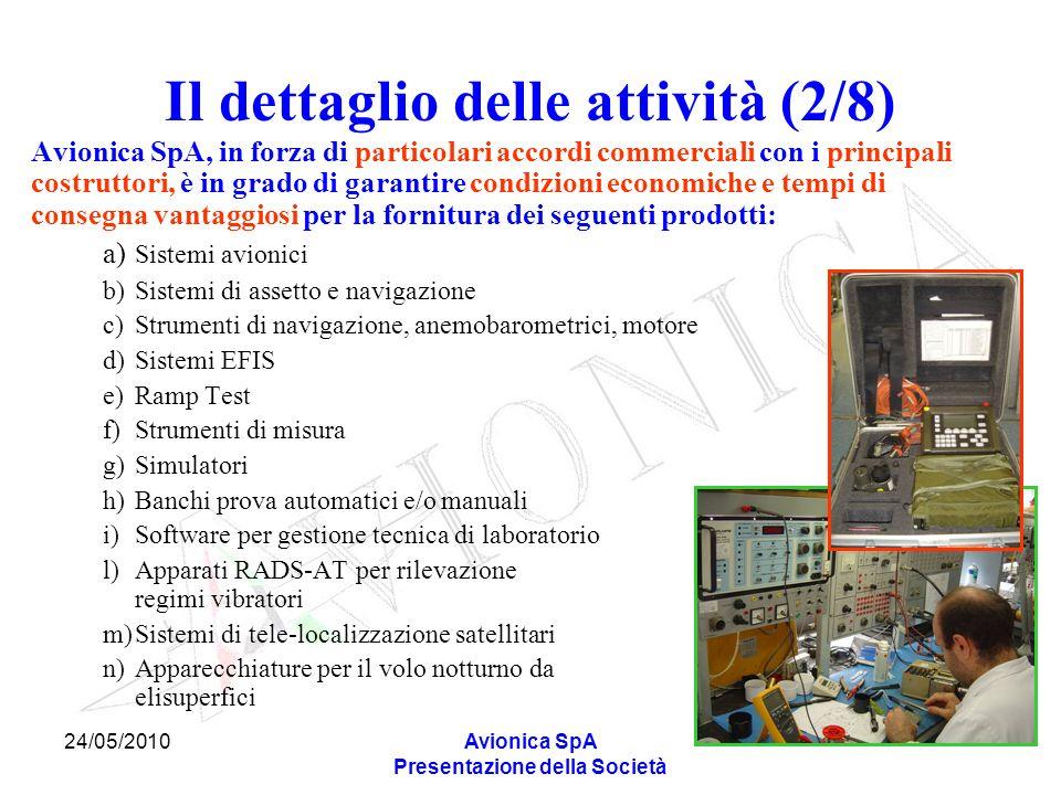 24/05/2010Avionica SpA Presentazione della Società Il dettaglio delle attività (2/8) Avionica SpA, in forza di particolari accordi commerciali con i p