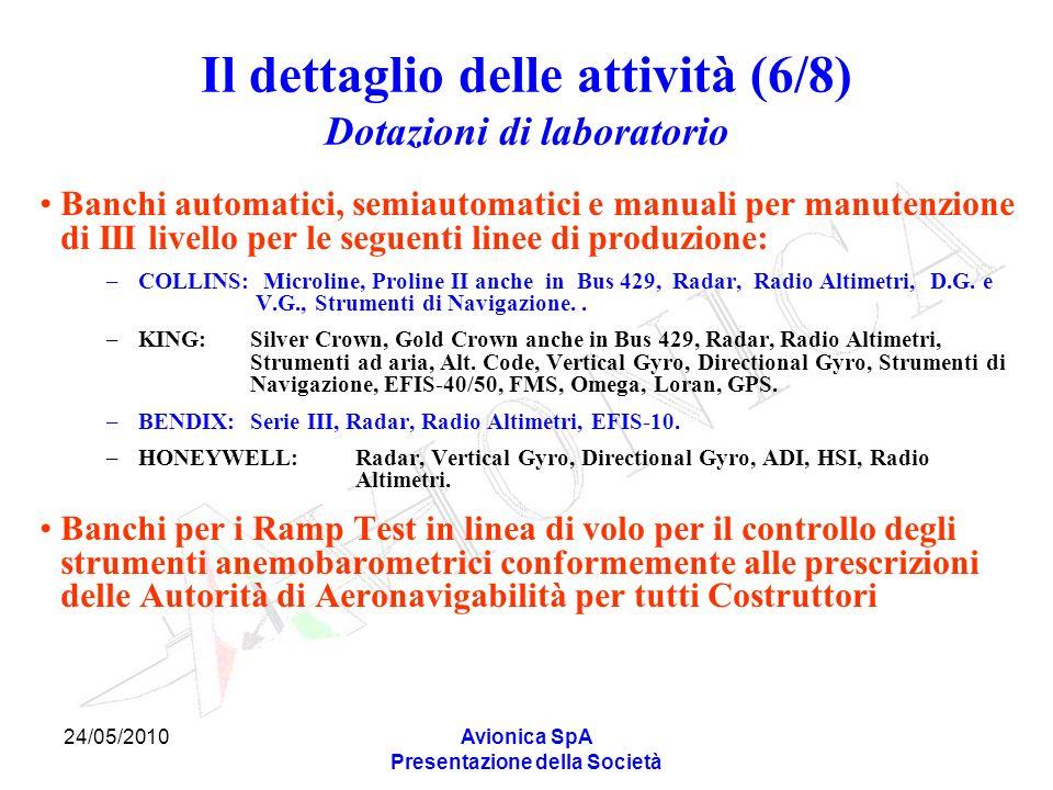 24/05/2010Avionica SpA Presentazione della Società Il dettaglio delle attività (6/8) Dotazioni di laboratorio Banchi automatici, semiautomatici e manu