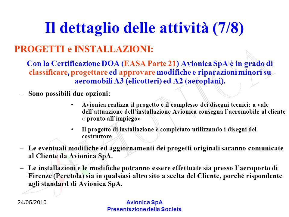 24/05/2010Avionica SpA Presentazione della Società Il dettaglio delle attività (7/8) PROGETTI e INSTALLAZIONI: Con la Certificazione DOA (EASA Parte 2