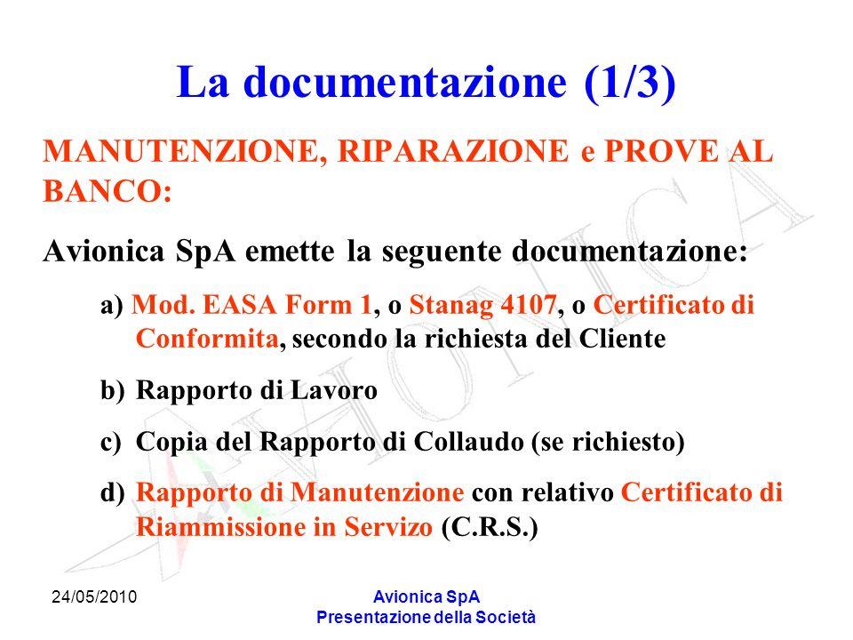 24/05/2010Avionica SpA Presentazione della Società La documentazione (1/3) MANUTENZIONE, RIPARAZIONE e PROVE AL BANCO: Avionica SpA emette la seguente