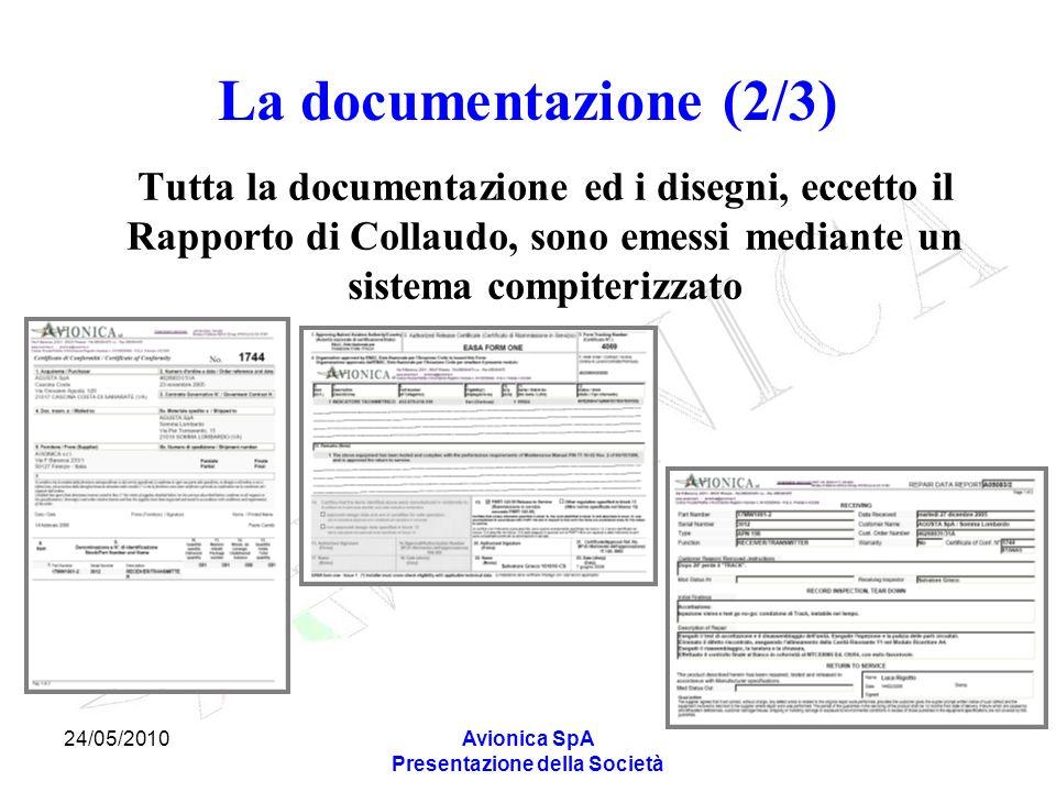 24/05/2010Avionica SpA Presentazione della Società La documentazione (2/3) Tutta la documentazione ed i disegni, eccetto il Rapporto di Collaudo, sono