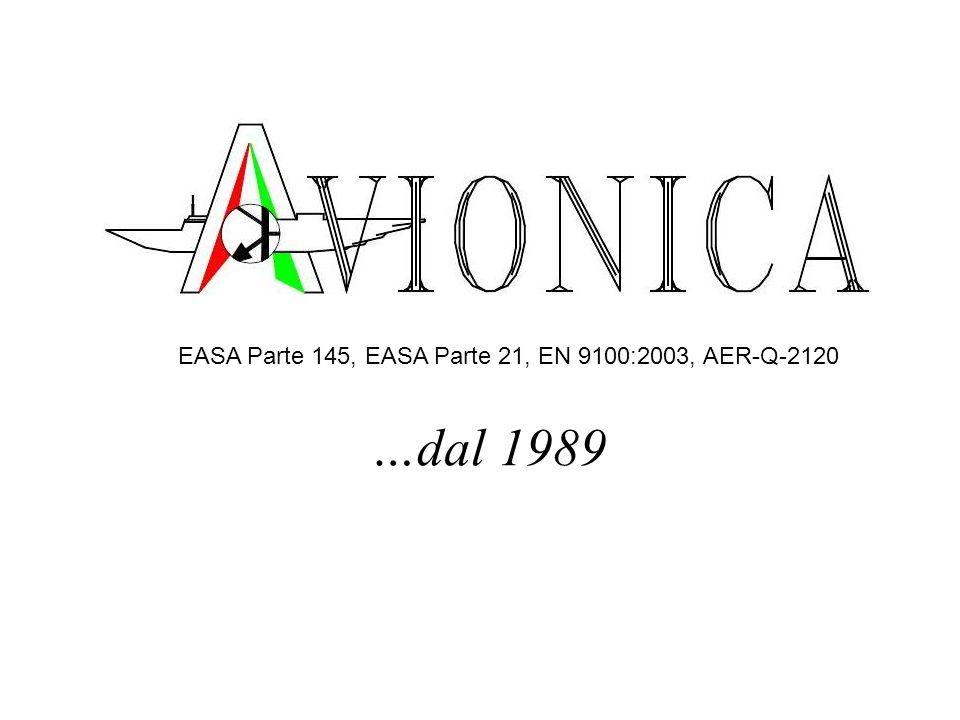…dal 1989 EASA Parte 145, EASA Parte 21, EN 9100:2003, AER-Q-2120