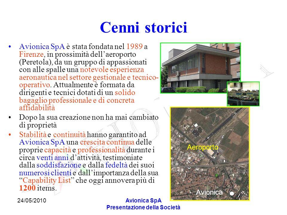 24/05/2010Avionica SpA Presentazione della Società Cenni storici Avionica SpA è stata fondata nel 1989 a Firenze, in prossimità dellaeroporto (Peretol