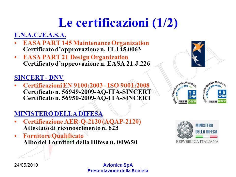 24/05/2010Avionica SpA Presentazione della Società Le certificazioni (1/2) E.N.A.C./E.A.S.A. EASA PART 145 Maintenance Organization Certificato dappro
