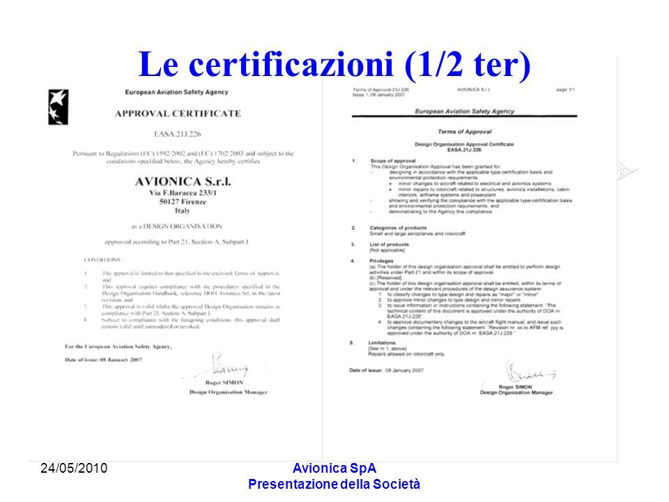 24/05/2010Avionica SpA Presentazione della Società Le certificazioni (1/2 ter)
