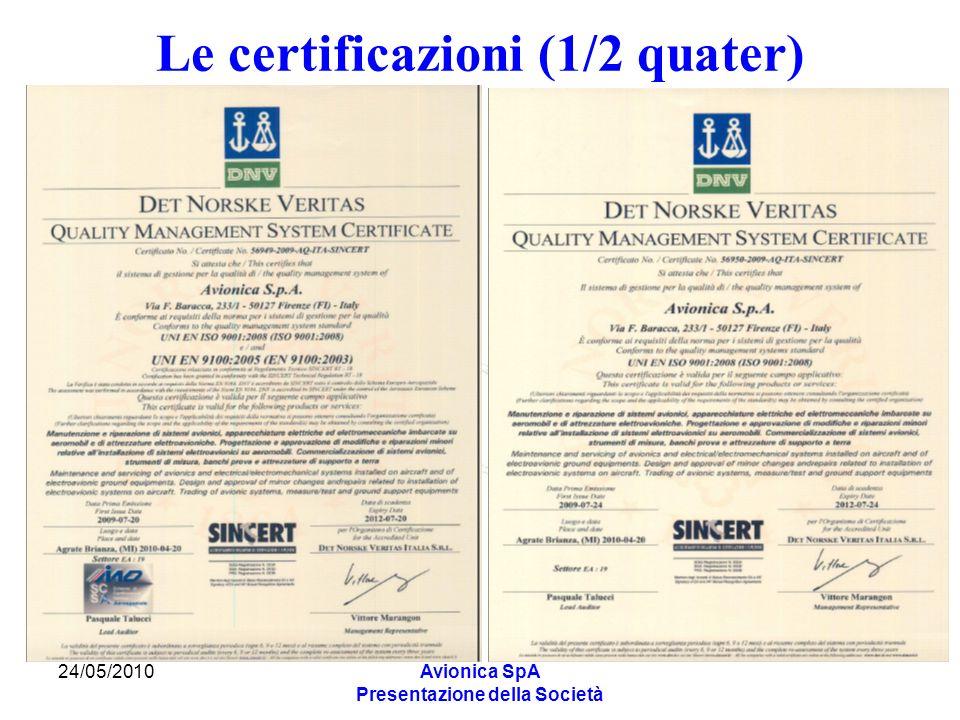 24/05/2010Avionica SpA Presentazione della Società Le certificazioni (1/2 quater)