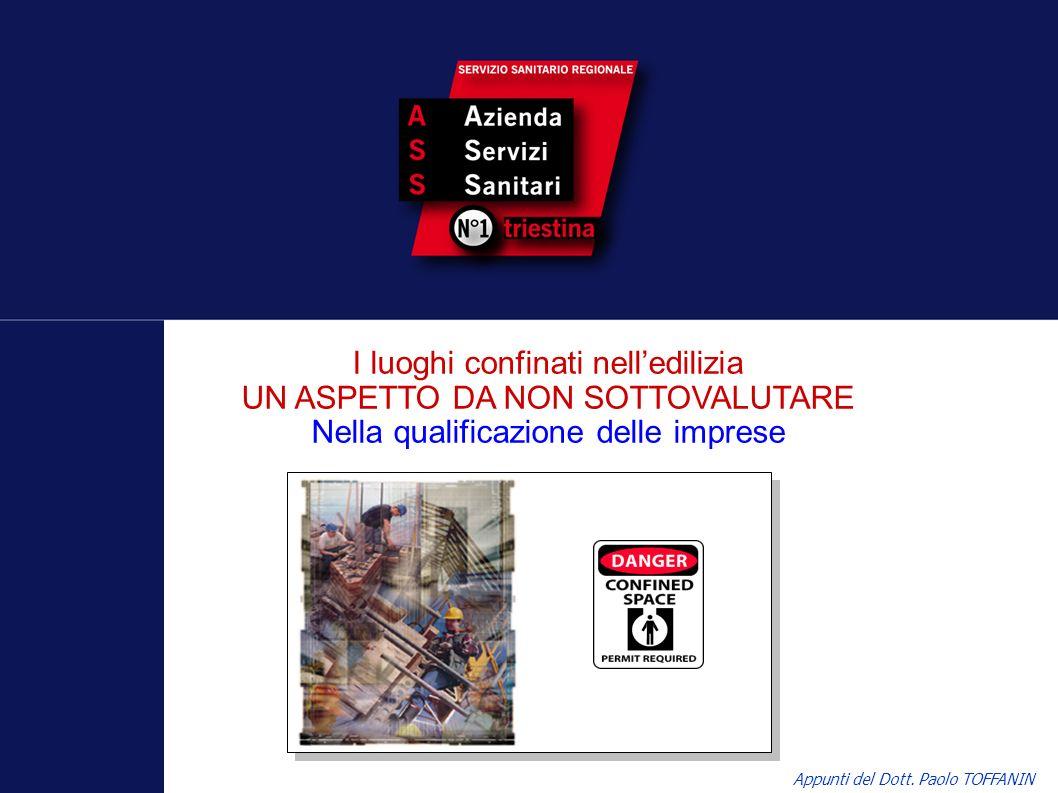 I luoghi confinati nelledilizia UN ASPETTO DA NON SOTTOVALUTARE Nella qualificazione delle imprese Appunti del Dott. Paolo TOFFANIN