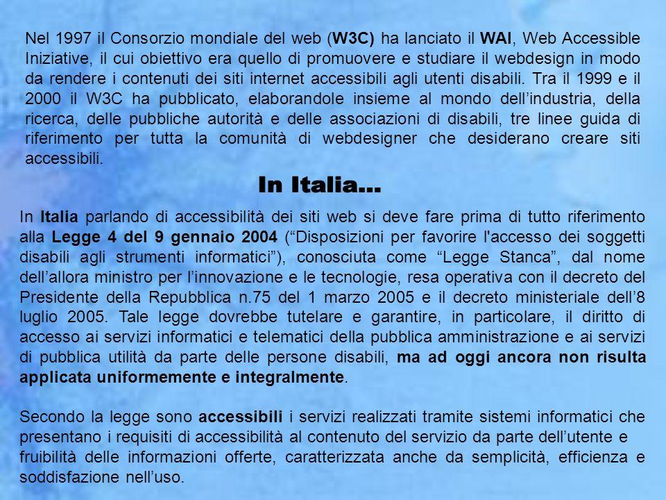 Nel 1997 il Consorzio mondiale del web (W3C) ha lanciato il WAI, Web Accessible Iniziative, il cui obiettivo era quello di promuovere e studiare il we