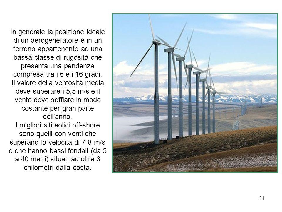 11 In generale la posizione ideale di un aerogeneratore è in un terreno appartenente ad una bassa classe di rugosità che presenta una pendenza compres