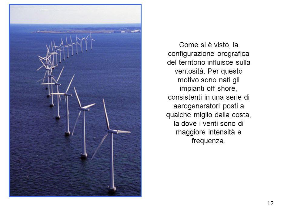 12 Come si è visto, la configurazione orografica del territorio influisce sulla ventosità. Per questo motivo sono nati gli impianti off-shore, consist
