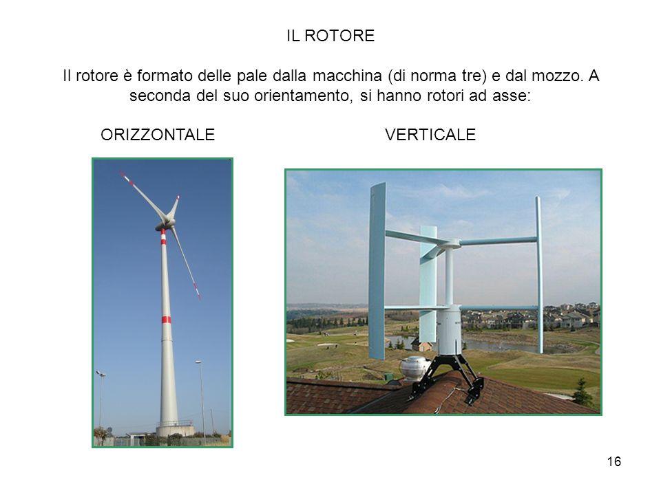 16 IL ROTORE Il rotore è formato delle pale dalla macchina (di norma tre) e dal mozzo. A seconda del suo orientamento, si hanno rotori ad asse: ORIZZO
