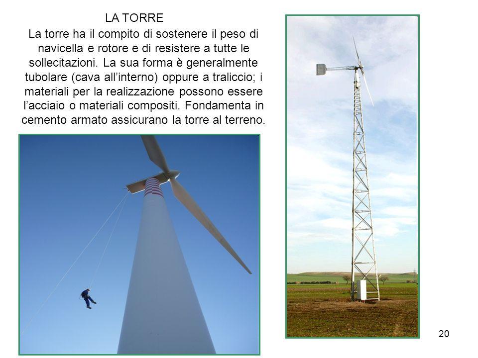 20 LA TORRE La torre ha il compito di sostenere il peso di navicella e rotore e di resistere a tutte le sollecitazioni. La sua forma è generalmente tu