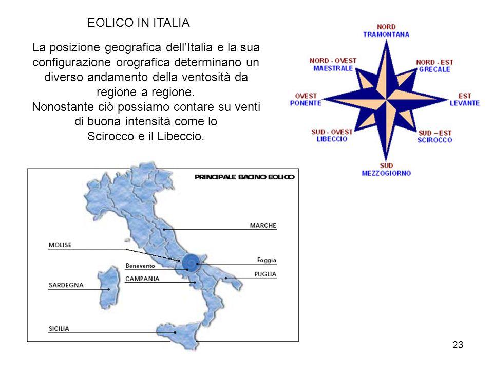 23 EOLICO IN ITALIA La posizione geografica dellItalia e la sua configurazione orografica determinano un diverso andamento della ventosità da regione