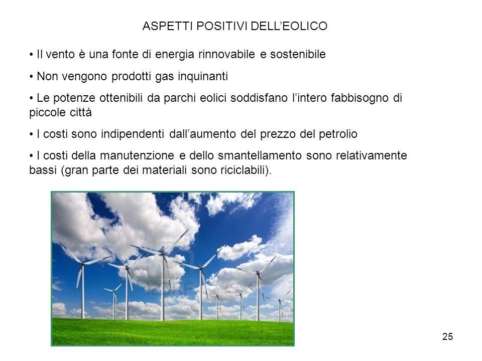 25 ASPETTI POSITIVI DELLEOLICO Il vento è una fonte di energia rinnovabile e sostenibile Non vengono prodotti gas inquinanti Le potenze ottenibili da