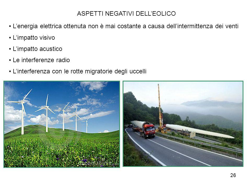 26 ASPETTI NEGATIVI DELLEOLICO Lenergia elettrica ottenuta non è mai costante a causa dellintermittenza dei venti Limpatto visivo Limpatto acustico Le