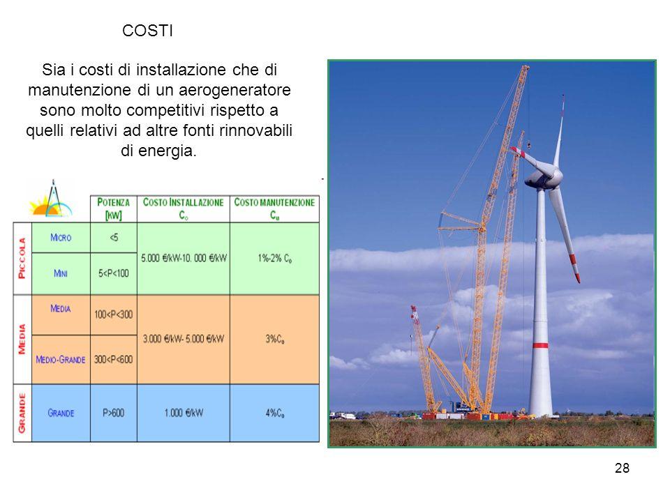 28 COSTI Sia i costi di installazione che di manutenzione di un aerogeneratore sono molto competitivi rispetto a quelli relativi ad altre fonti rinnov
