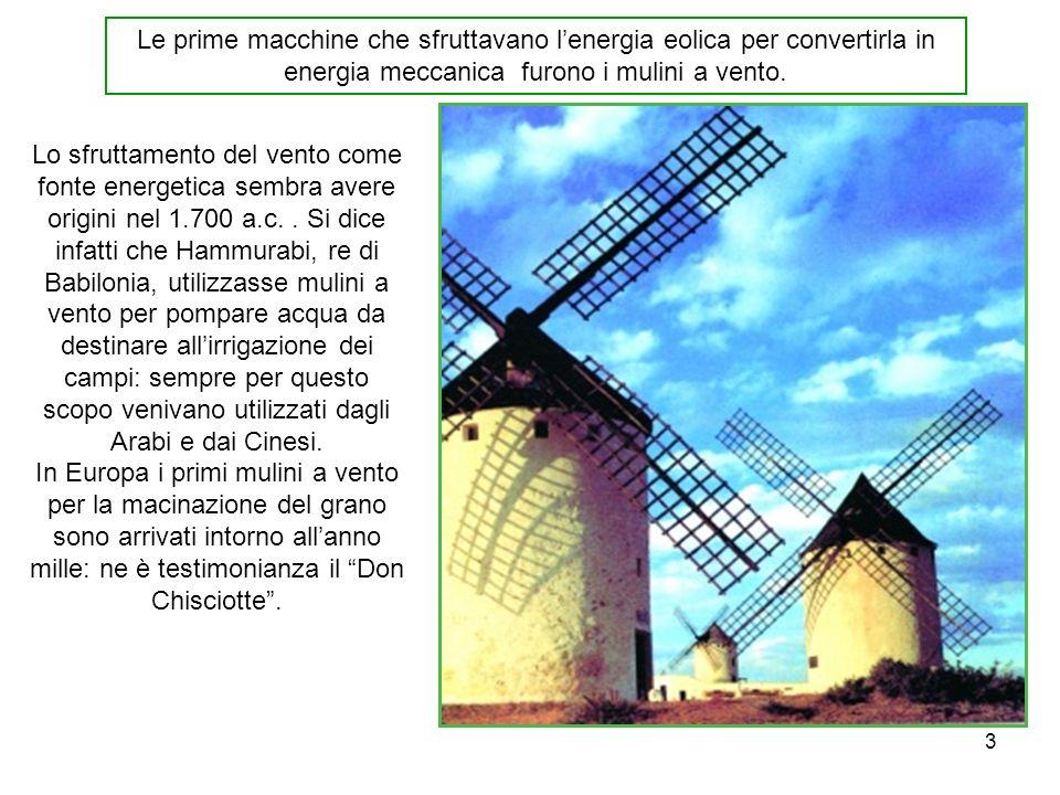 3 Le prime macchine che sfruttavano lenergia eolica per convertirla in energia meccanica furono i mulini a vento. Lo sfruttamento del vento come fonte