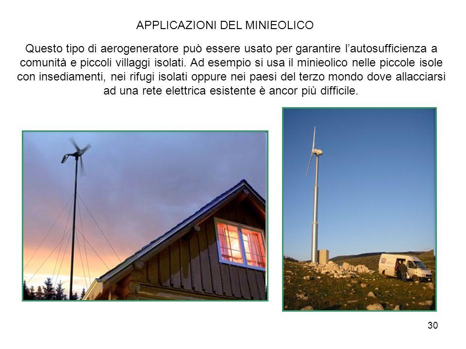30 APPLICAZIONI DEL MINIEOLICO Questo tipo di aerogeneratore può essere usato per garantire lautosufficienza a comunità e piccoli villaggi isolati. Ad