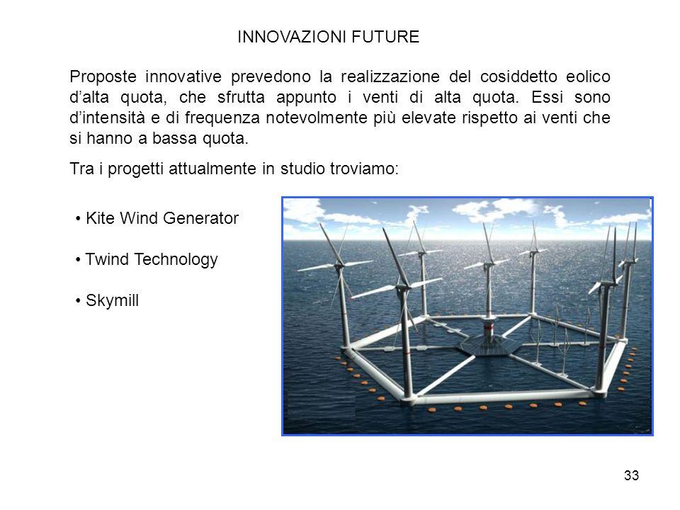 33 INNOVAZIONI FUTURE Proposte innovative prevedono la realizzazione del cosiddetto eolico dalta quota, che sfrutta appunto i venti di alta quota. Ess