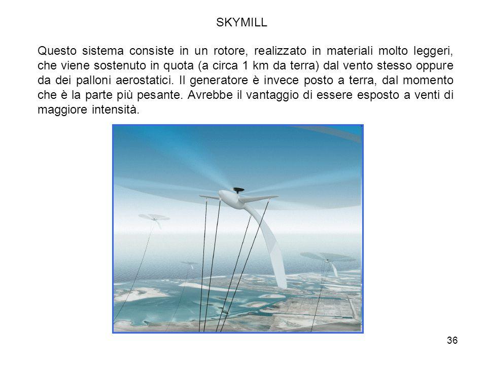 36 SKYMILL Questo sistema consiste in un rotore, realizzato in materiali molto leggeri, che viene sostenuto in quota (a circa 1 km da terra) dal vento