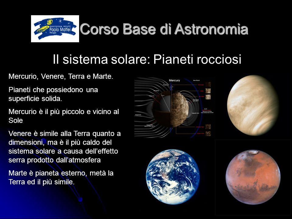 © Associazione Astrofili Paolo Maffei Perugia 201012 Corso Base di Astronomia Corso Base di Astronomia Il sistema solare: Pianeti rocciosi Mercurio, V