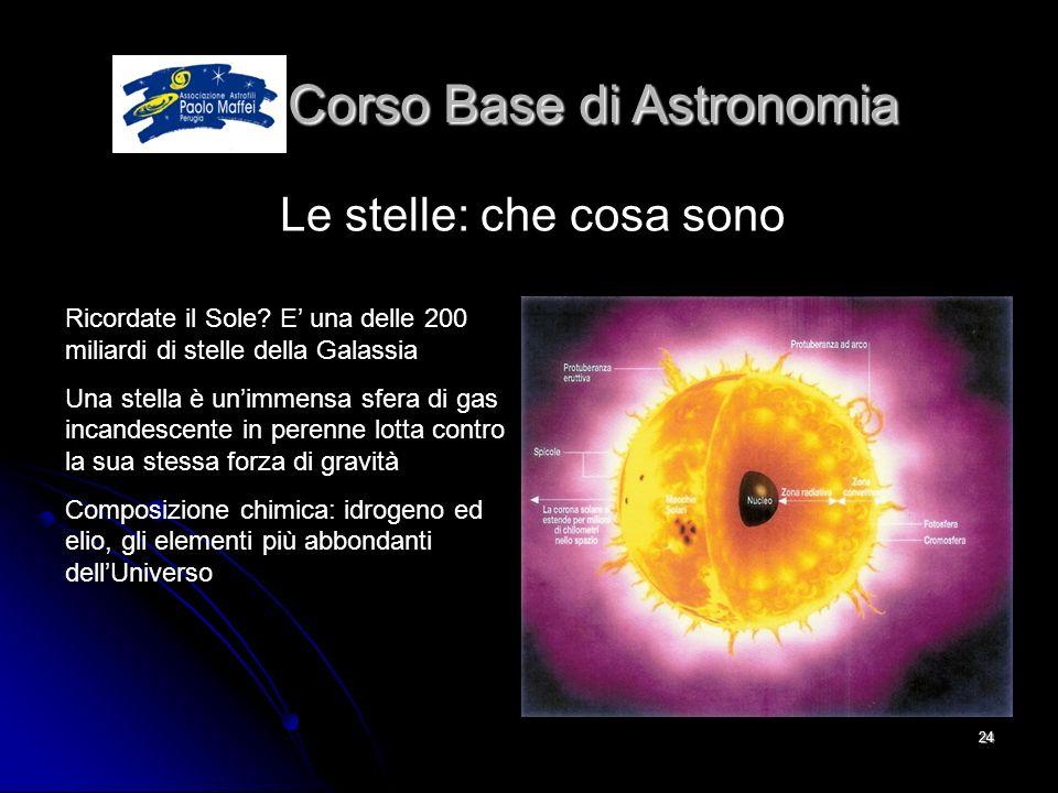 © Associazione Astrofili Paolo Maffei Perugia 201024 Corso Base di Astronomia Corso Base di Astronomia Le stelle: che cosa sono Ricordate il Sole? E u