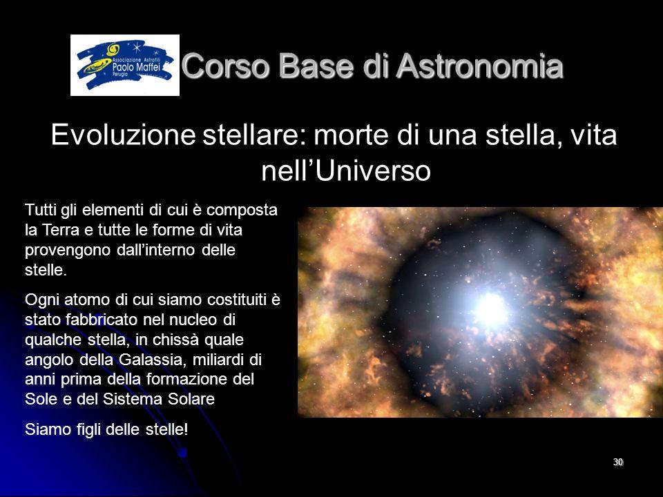 © Associazione Astrofili Paolo Maffei Perugia 201030 Corso Base di Astronomia Corso Base di Astronomia Evoluzione stellare: morte di una stella, vita