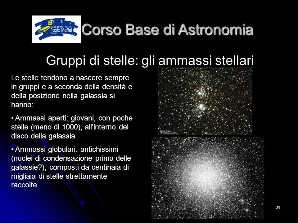 © Associazione Astrofili Paolo Maffei Perugia 201034 Corso Base di Astronomia Corso Base di Astronomia Gruppi di stelle: gli ammassi stellari Le stell