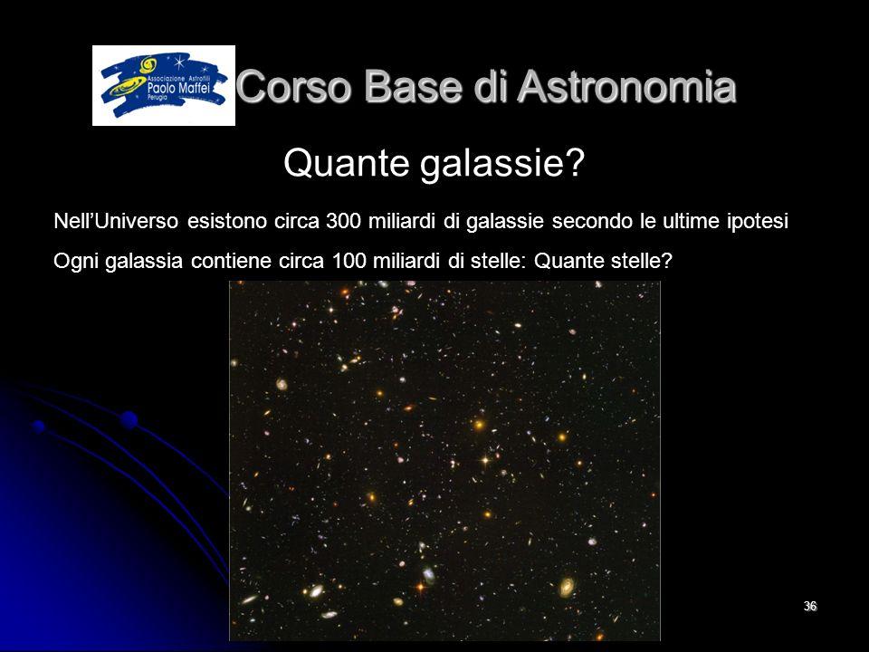© Associazione Astrofili Paolo Maffei Perugia 201036 Corso Base di Astronomia Corso Base di Astronomia Quante galassie? NellUniverso esistono circa 30