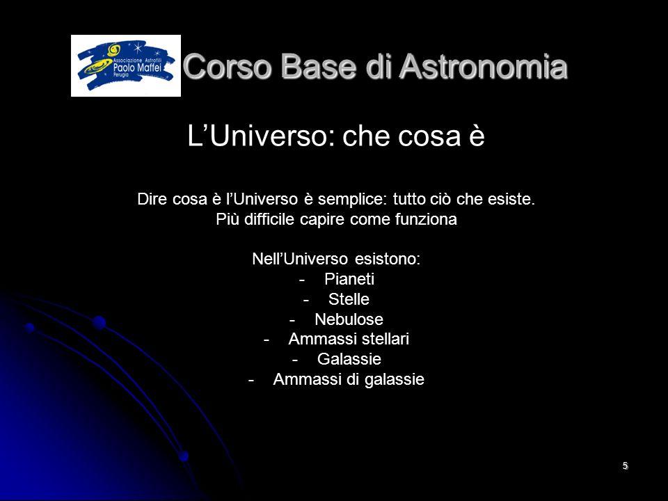 © Associazione Astrofili Paolo Maffei Perugia 20105 Corso Base di Astronomia Corso Base di Astronomia LUniverso: che cosa è Dire cosa è lUniverso è se
