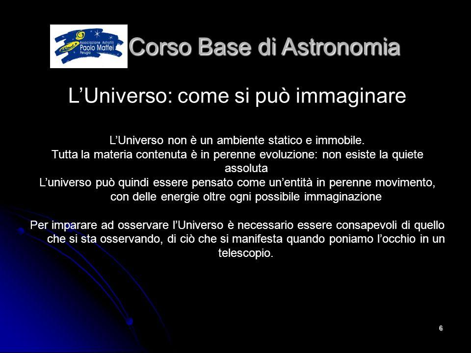 © Associazione Astrofili Paolo Maffei Perugia 20106 Corso Base di Astronomia Corso Base di Astronomia LUniverso: come si può immaginare LUniverso non