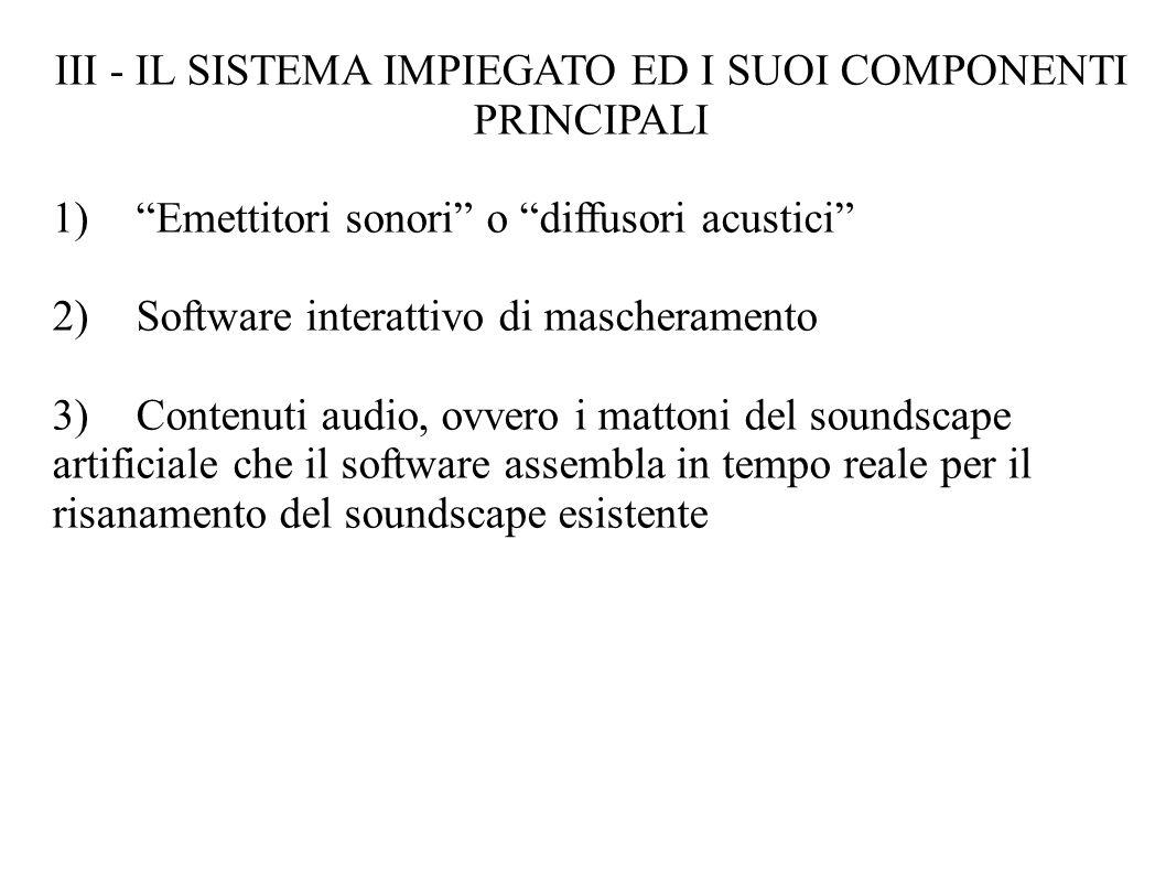 III - IL SISTEMA IMPIEGATO ED I SUOI COMPONENTI PRINCIPALI 1)Emettitori sonori o diffusori acustici 2)Software interattivo di mascheramento 3) Contenuti audio, ovvero i mattoni del soundscape artificiale che il software assembla in tempo reale per il risanamento del soundscape esistente