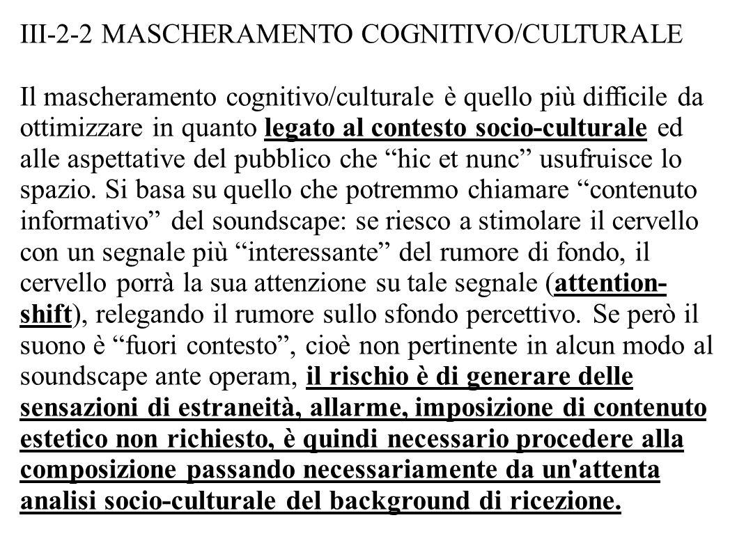 III-2-2 MASCHERAMENTO COGNITIVO/CULTURALE Il mascheramento cognitivo/culturale è quello più difficile da ottimizzare in quanto legato al contesto socio-culturale ed alle aspettative del pubblico che hic et nunc usufruisce lo spazio.