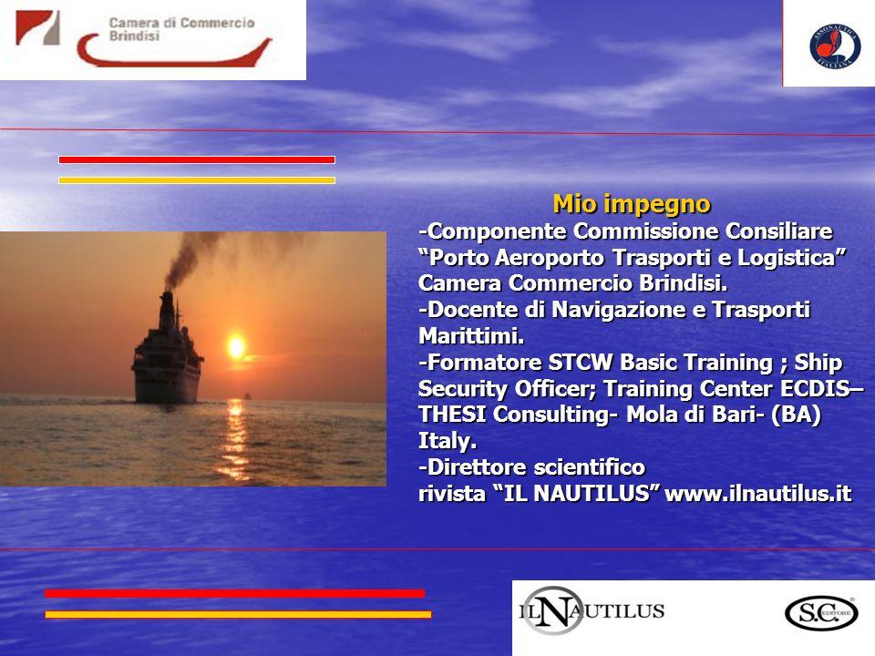 Mio impegno Mio impegno -Componente Commissione Consiliare Porto Aeroporto Trasporti e Logistica Camera Commercio Brindisi.