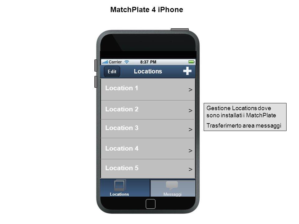 Location 1 - Varchi Varco ingresso Varco nord Varco reception Varchi > > > Users MatchPlate 4 iPhone Per ogni Location - Visualizzare elenco varchi con immagine current della telecamera - Visualizzare elenco users associati