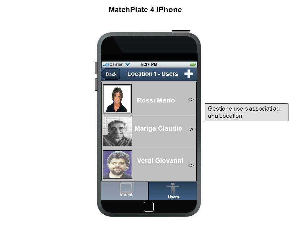 Location 1 - User Conferma Nome Gruppo Targa Rossi Mario White List XX 123 YY MatchPlate 4 iPhone Form per la gestione degli users