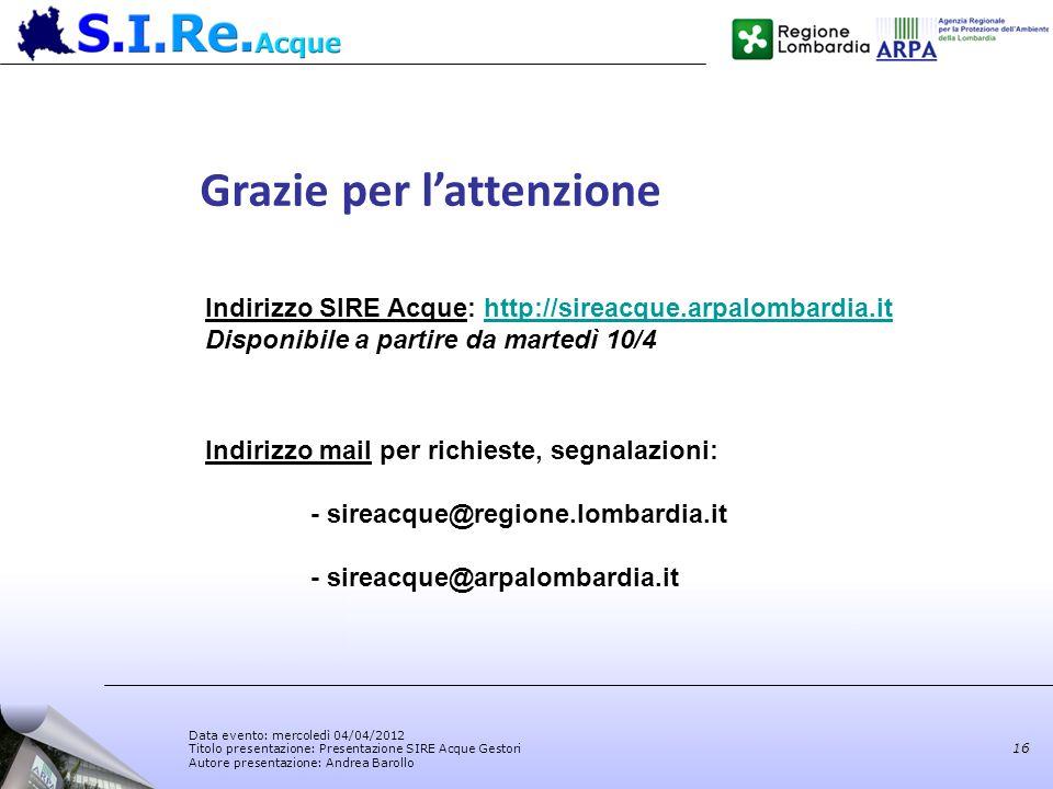 Data evento: mercoledì 04/04/2012 Titolo presentazione: Presentazione SIRE Acque Gestori Autore presentazione: Andrea Barollo 16 Grazie per lattenzion