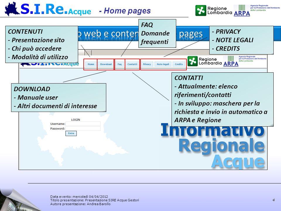 Data evento: mercoledì 04/04/2012 Titolo presentazione: Presentazione SIRE Acque Gestori Autore presentazione: Andrea Barollo 4 - Home pages - PRIVACY