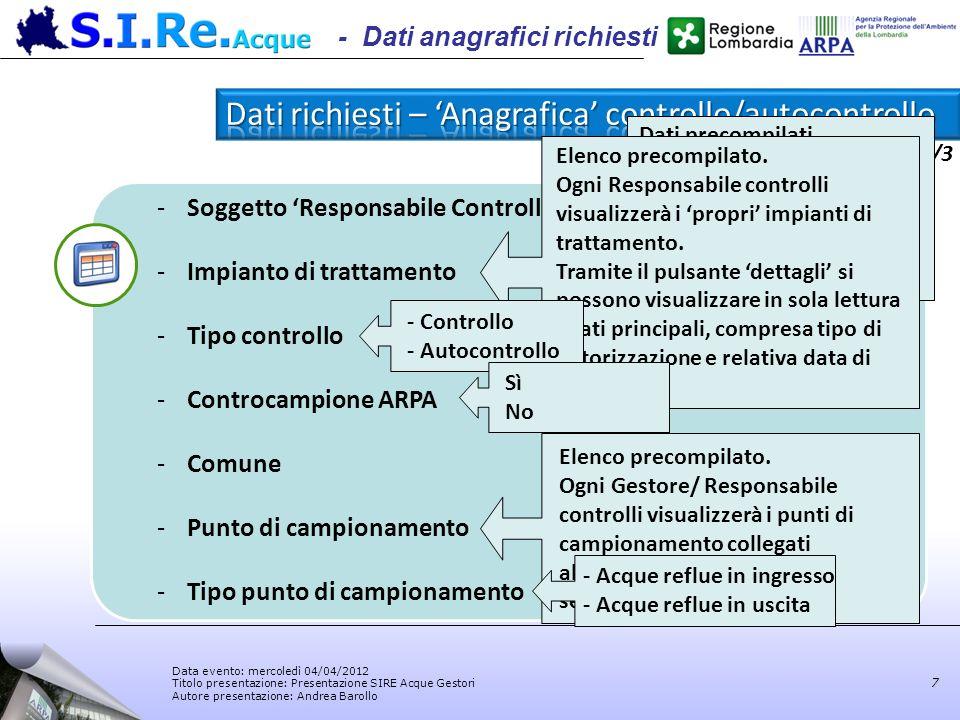Data evento: mercoledì 04/04/2012 Titolo presentazione: Presentazione SIRE Acque Gestori Autore presentazione: Andrea Barollo 1/3 7 - Dati anagrafici