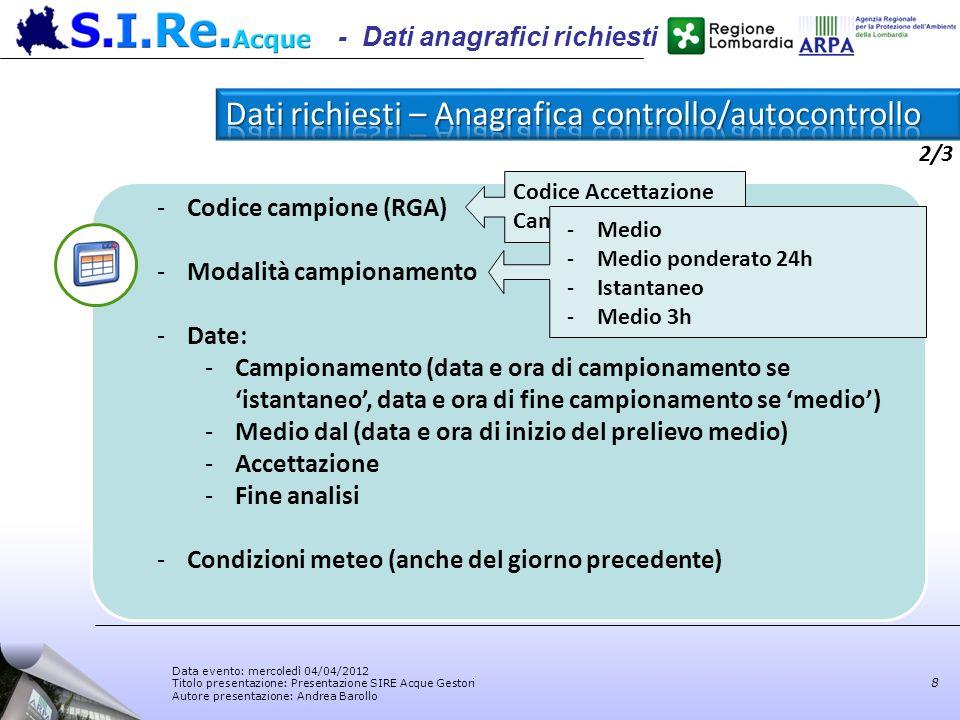 Data evento: mercoledì 04/04/2012 Titolo presentazione: Presentazione SIRE Acque Gestori Autore presentazione: Andrea Barollo 8 -Codice campione (RGA)