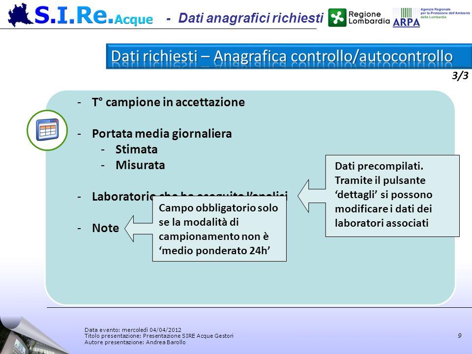 Data evento: mercoledì 04/04/2012 Titolo presentazione: Presentazione SIRE Acque Gestori Autore presentazione: Andrea Barollo 9 -T° campione in accett